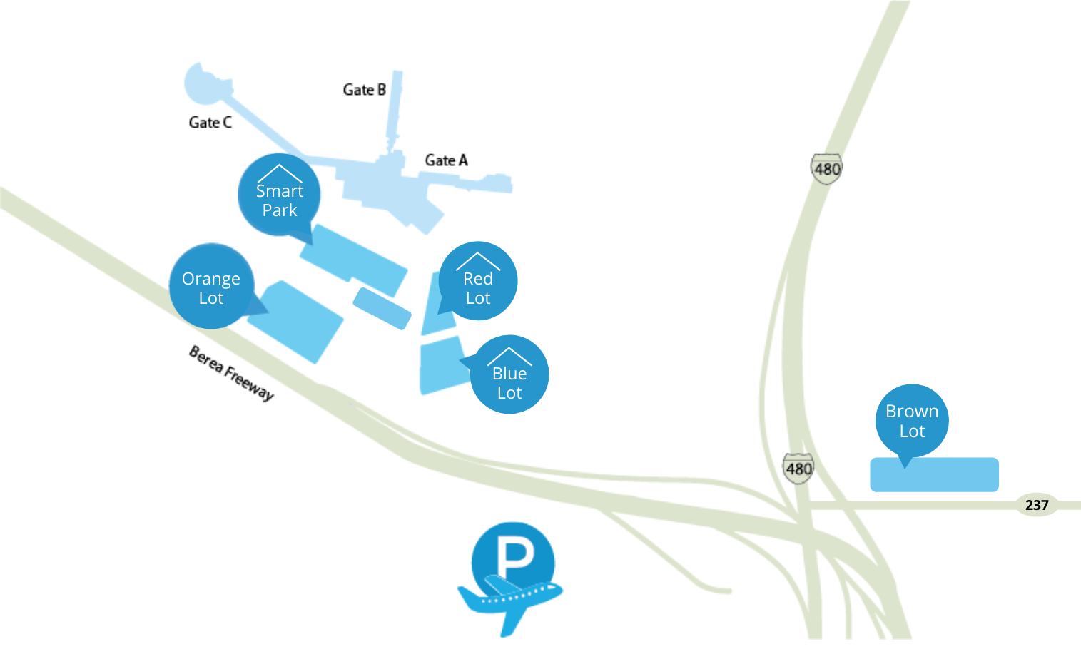 Cleveland Airport Parking Map
