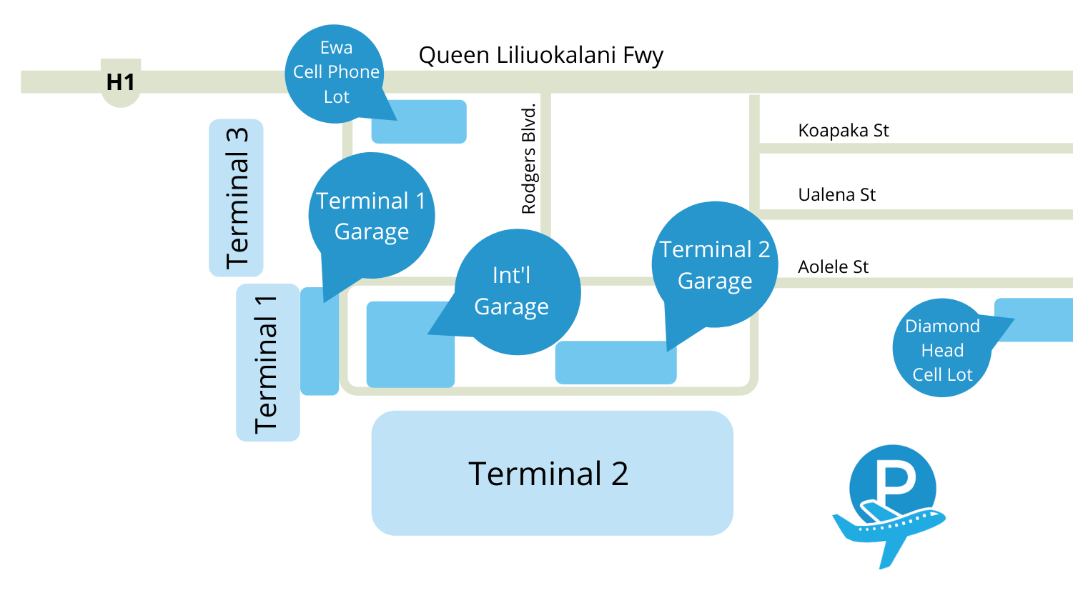 HNL Airport parking map