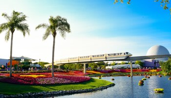 Orlando transportation monorail with Disney in background