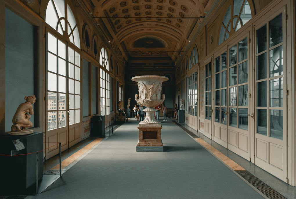 Hallway of the Uffizi Gallery in Florence